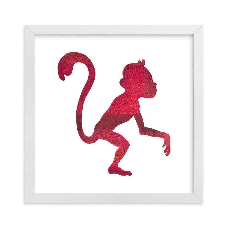 """Red Party Monkey"" - Art Print by Jeff Preuss in beautiful frame options and a variety of sizes."