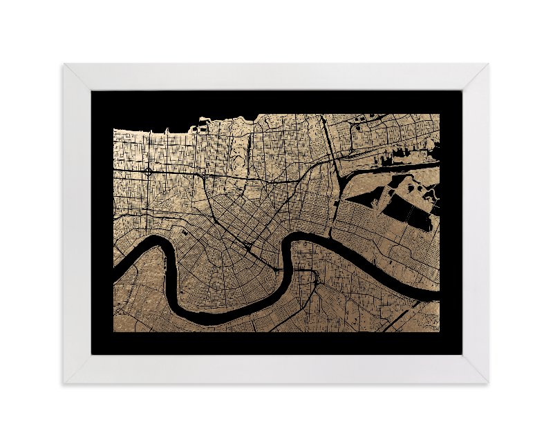 """""""New Orleans Map"""" - Foil-pressed Art Print by Alex Elko Design in beautiful frame options and a variety of sizes."""