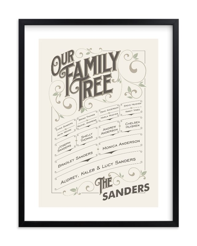 """""""Our Vintage Family"""" - Family Tree Custom Art Print by GeekInk Design in beautiful frame options and a variety of sizes."""