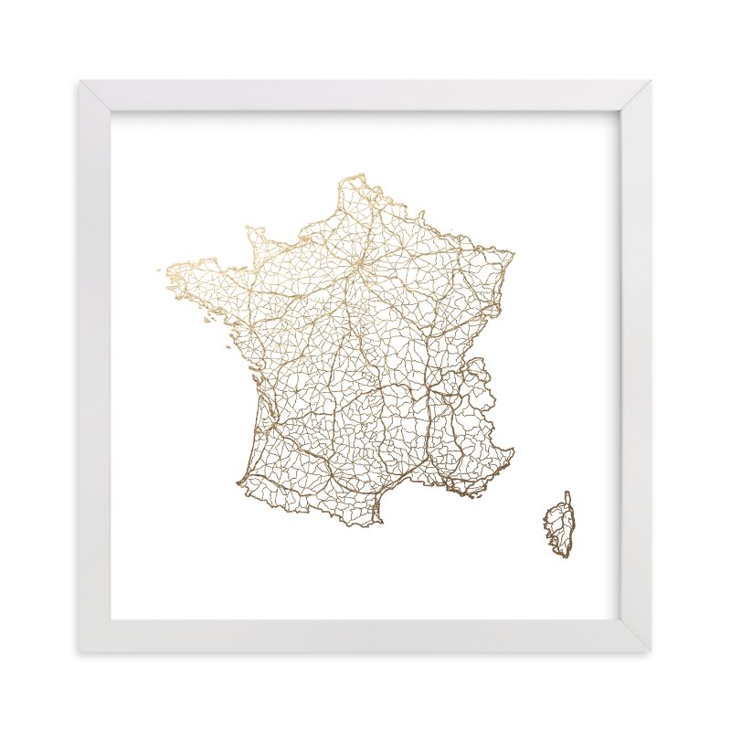 """France Map"" - Foil-pressed Art Print by GeekInk Design in beautiful frame options and a variety of sizes."