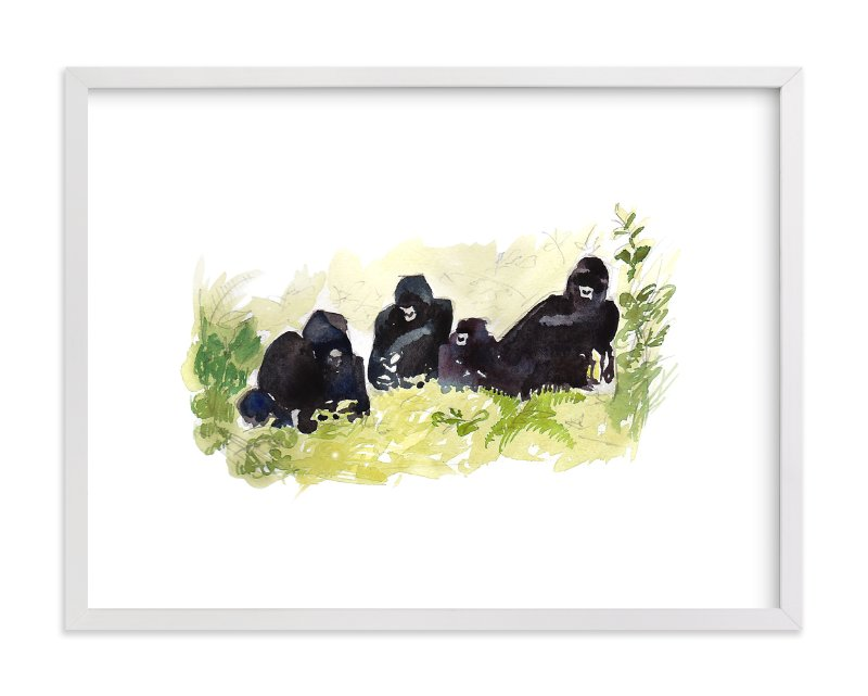 """Lounging Gorillas"" - Art Print by Haley Mistler in beautiful frame options and a variety of sizes."