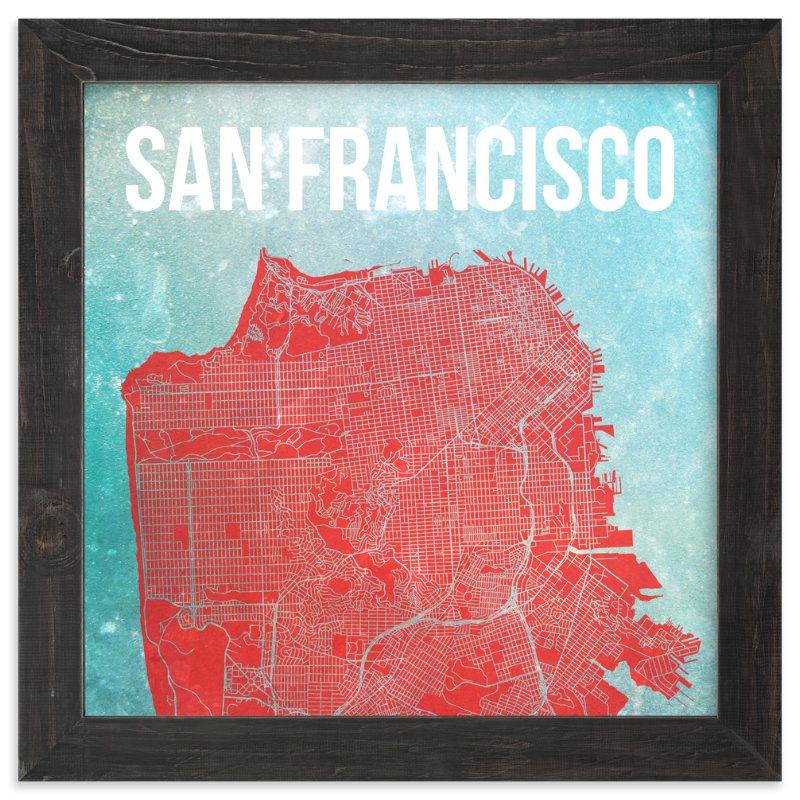 """Map of San Francisco"" - Art Print by Alex Elko Design in beautiful frame options and a variety of sizes."