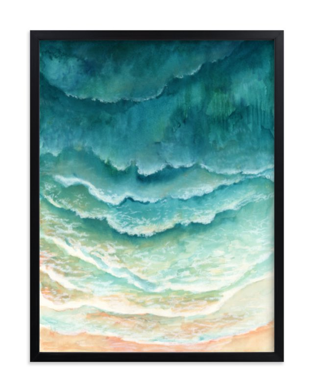 """Ombre Waves"" - Art Print by Honeybunch Studio in beautiful frame options and a variety of sizes."