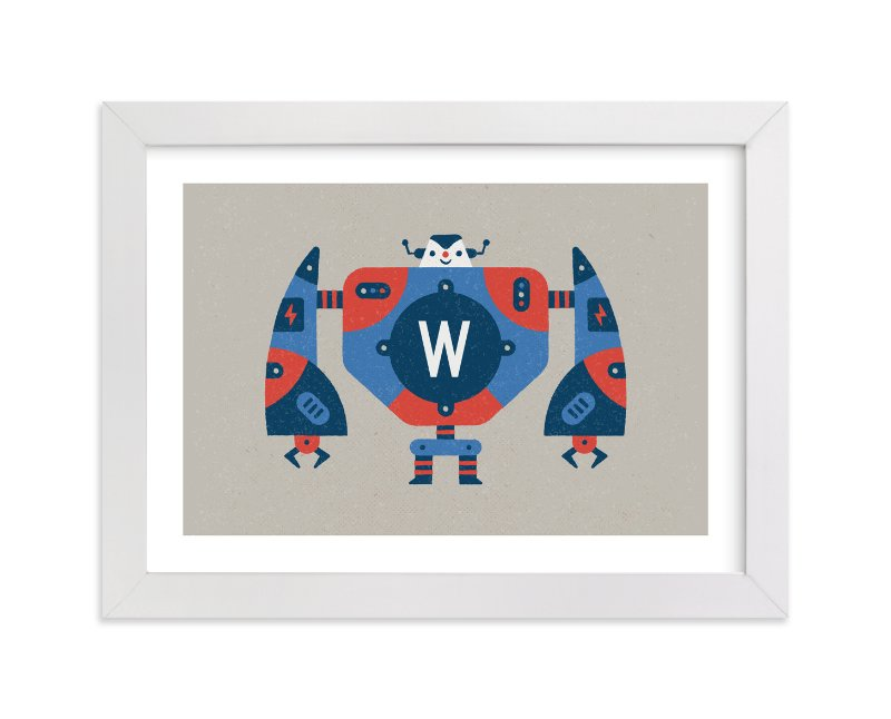 """Big Robot"" - Children's Custom Art Print by Bob Daly in beautiful frame options and a variety of sizes."