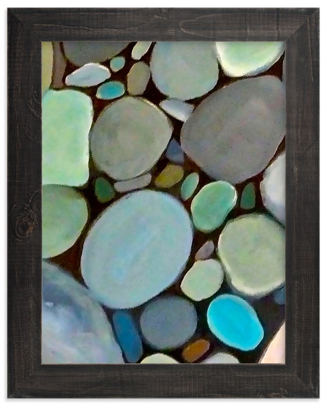 """Beach Stones"" - Art Print by Jenny Partrite in beautiful frame options and a variety of sizes."