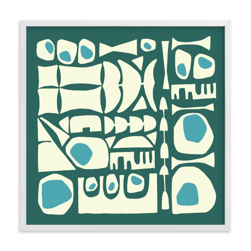 """""""Blue Tiki"""" - Art Print by Amy Reber in beautiful frame options and a variety of sizes."""