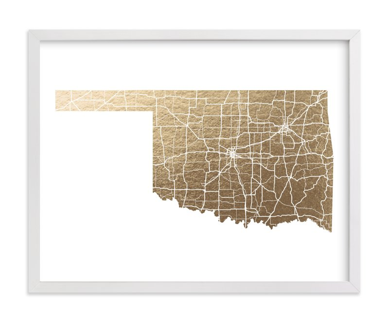 Oklahoma Map FoilPressed Wall Art By GeekInk Design Minted - Oklahoma map
