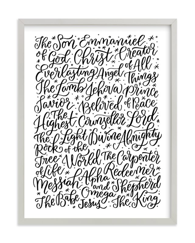 """All the Names of Jesus"" - Art Print by Laura Bolter Design in beautiful frame options and a variety of sizes. #jesus #christianity #print #art"