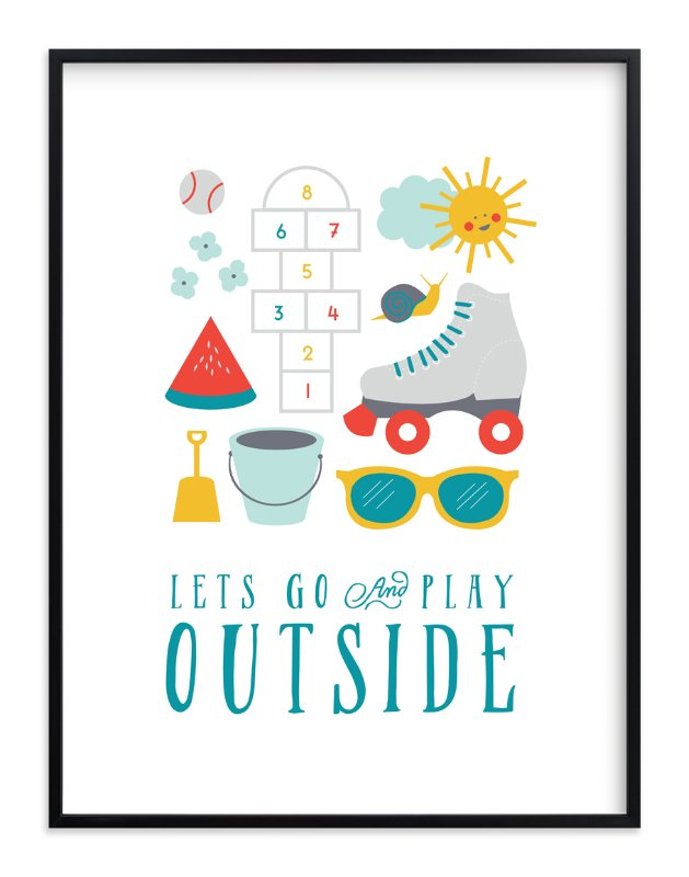 """Play Outside"" - Art Print by Katie Zimpel in beautiful frame options and a variety of sizes."