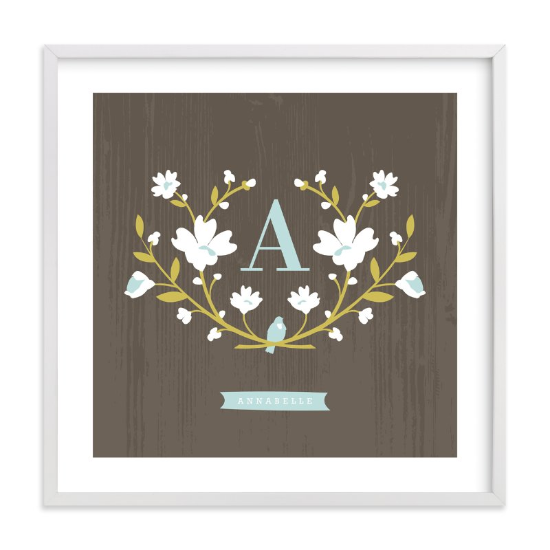 """Woodland Initial"" - Children's Custom Art Print by Kristie Kern in beautiful frame options and a variety of sizes."