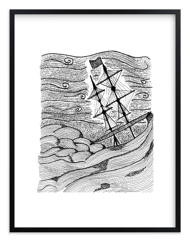"""capsized"" - Limited Edition Art Print by blackwhite press in beautiful frame options and a variety of sizes."