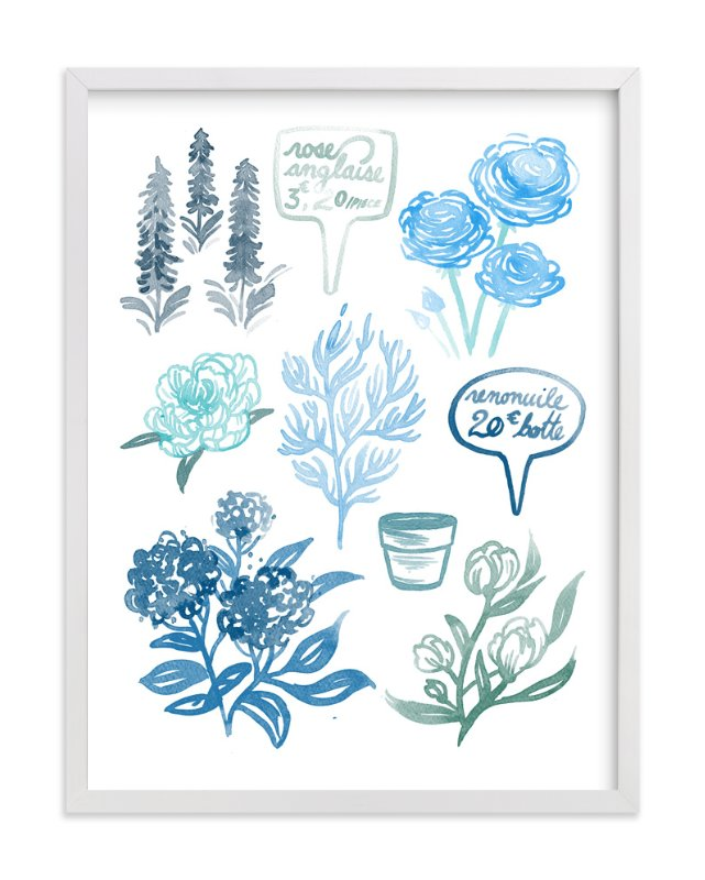 """Blue Watercolor French Flowers "" - Art Print by Paper Raven Co. in beautiful frame options and a variety of sizes."
