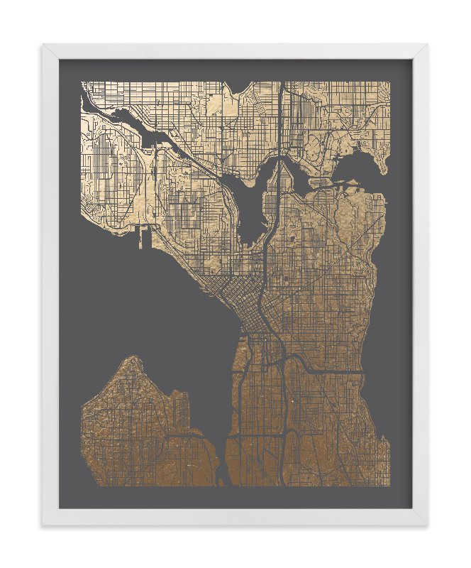 Seattle Wall Art seattle map foil-pressed wall artalex elko design | minted