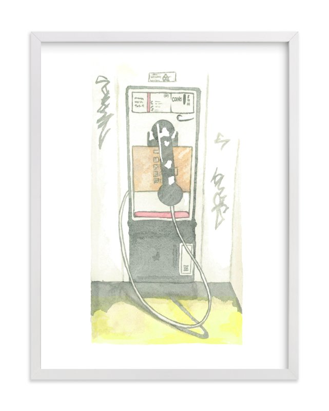 """The Pay Phone"" - Art Print by Michelle Waldie in beautiful frame options and a variety of sizes."