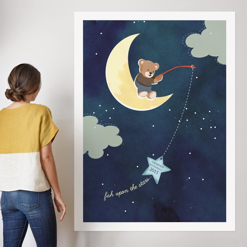 """Fish Upon A Star"" - Nursery Custom Art Print by Britt Clendenen in beautiful frame options and a variety of sizes."