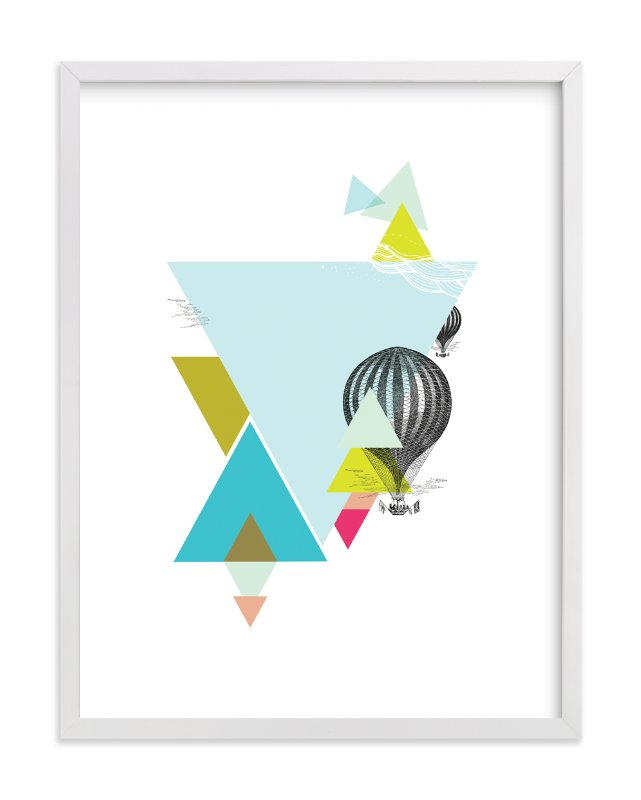 """Hot-Air Balloon Geo"" - Art Print by Lady Noble in beautiful frame options and a variety of sizes."