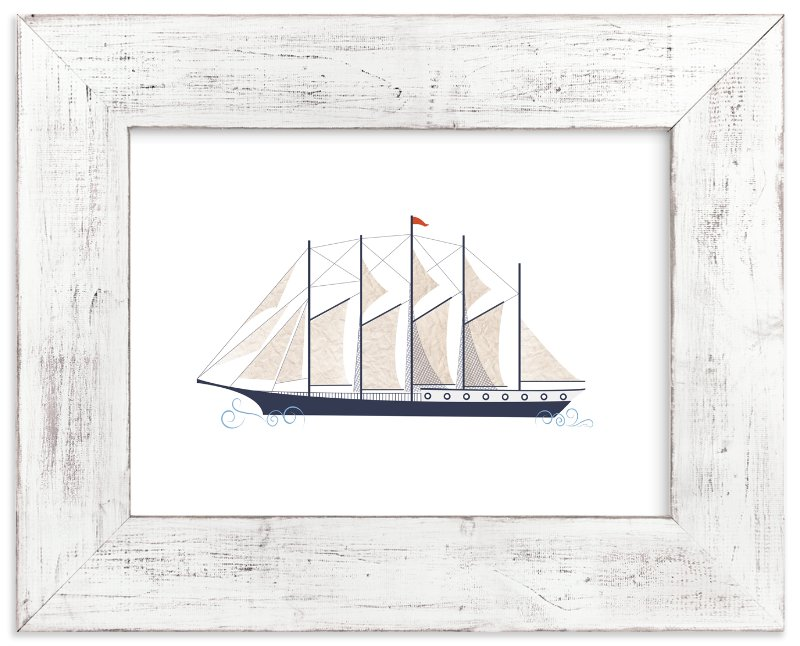 """""""Schooner Boat"""" - Art Print by Katie Zimpel in beautiful frame options and a variety of sizes."""