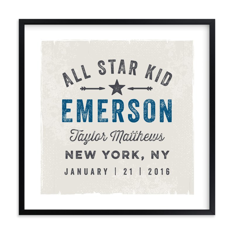 """All Star Kid"" - Children's Custom Art Print by Karidy Walker in beautiful frame options and a variety of sizes."