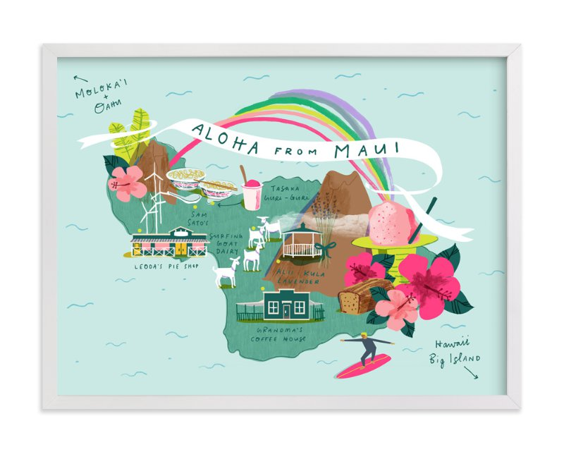 """""""Maui Map"""" - Art Print by Lindsey Balbierz in beautiful frame options and a variety of sizes."""