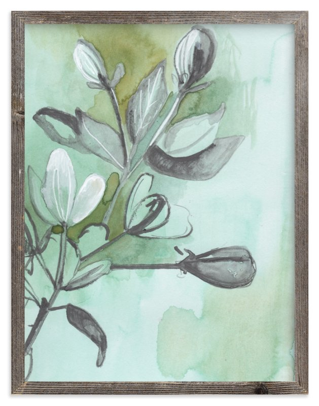 """""""Botanical Sketch in Green"""" - Art Print by Makewells in beautiful frame options and a variety of sizes."""