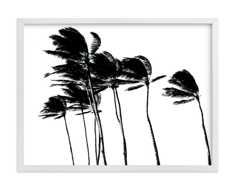 """Palm Trees in the Wind"" - Art Print by BeachPaperCo in beautiful frame options and a variety of sizes."
