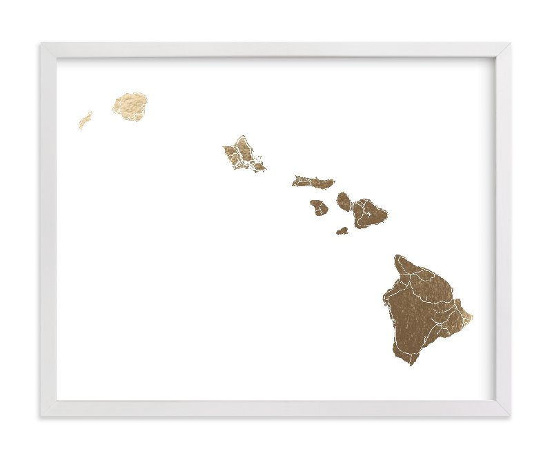 """""""Hawaii Map"""" - Foil-pressed Art Print by GeekInk Design in beautiful frame options and a variety of sizes."""