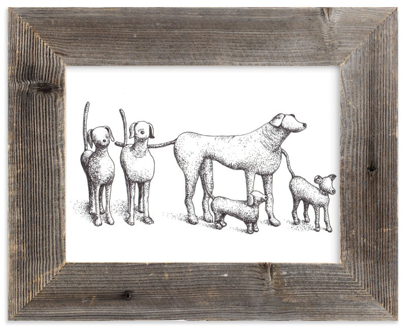 """Five Dogs"" - Art Print by XL in beautiful frame options and a variety of sizes."