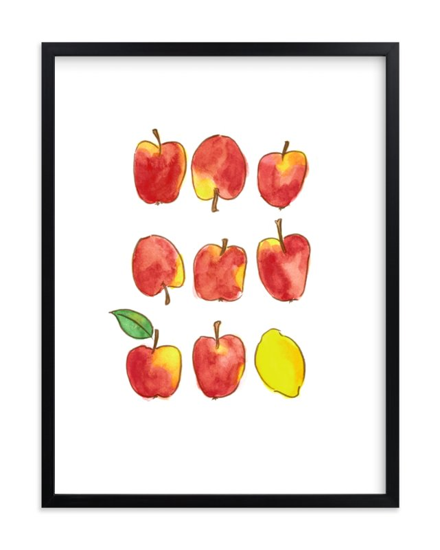 """Apples and a Lemon"" - Limited Edition Art Print by Emy Art Studio in beautiful frame options and a variety of sizes."