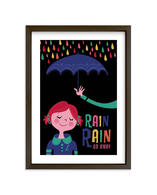 """Rainy Day"" - Children's Custom Art Print by Pistols in beautiful frame options and a variety of sizes."