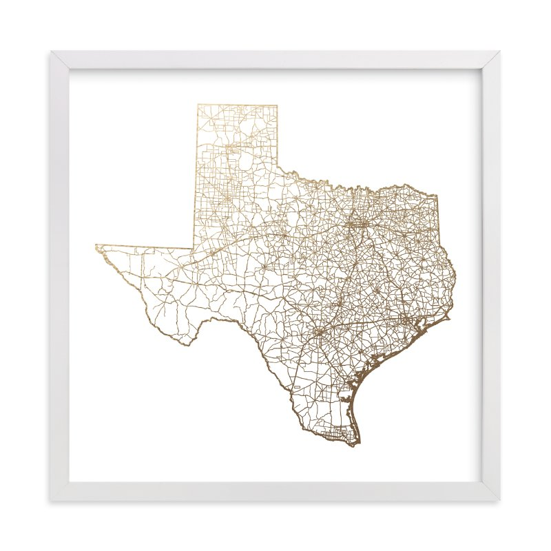 Texas Map Foil Pressed Wall Art By Geekink Design Minted
