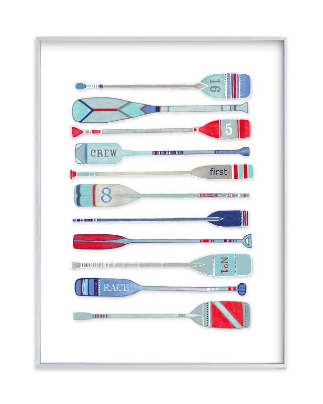 """""""Varsity Oars"""" - Limited Edition Art Print by Harriet Mellor in beautiful frame options and a variety of sizes."""