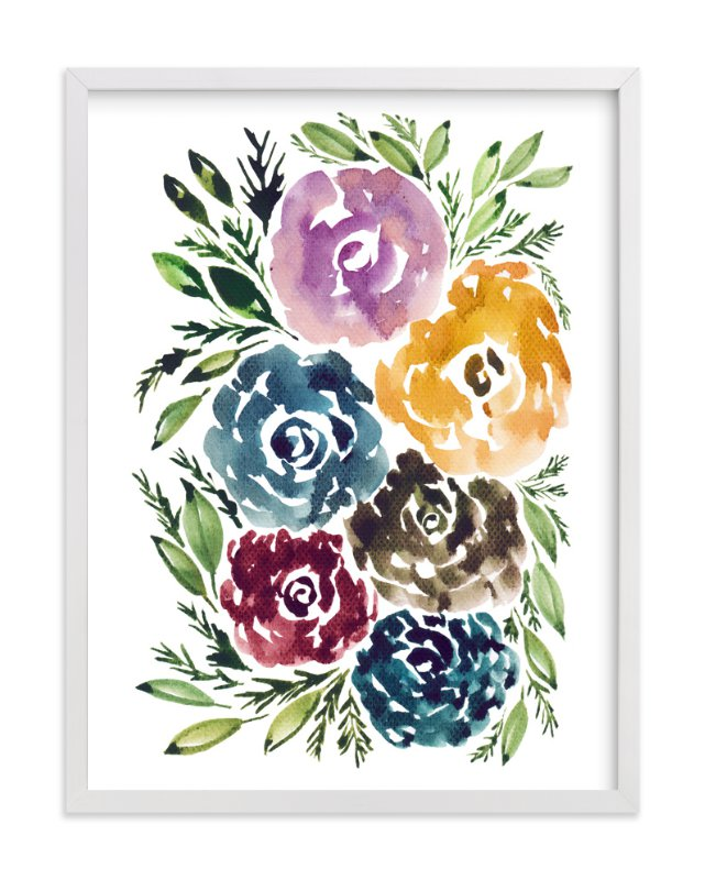 """hand painted flowers"" - Art Print by aticnomar in beautiful frame options and a variety of sizes."