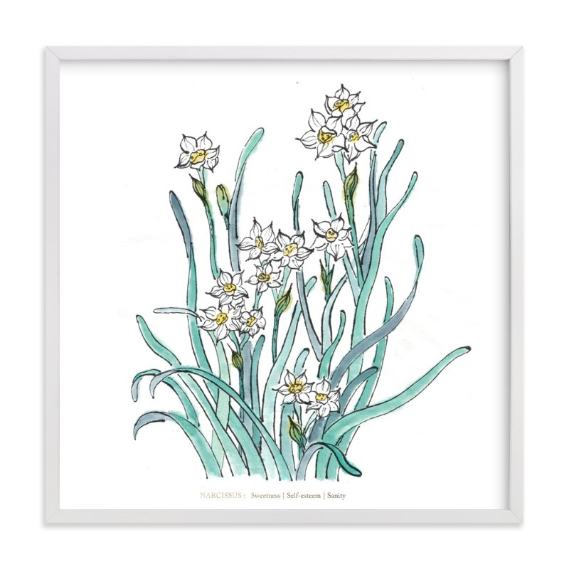 """Birth Flower - December -  Narcissus"" - Art Print by Qing Ji in beautiful frame options and a variety of sizes."