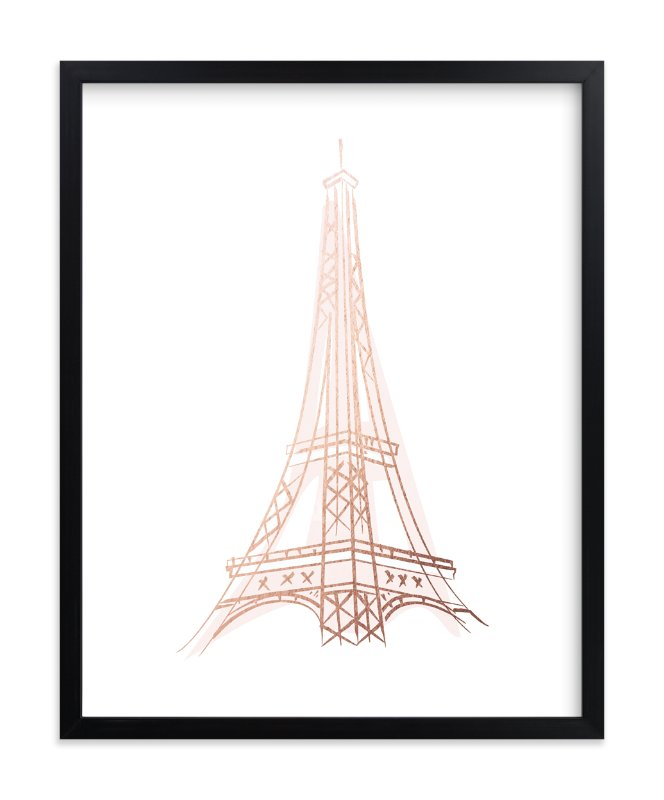 """""""Le Tour D'Eiffel"""" - Foil-pressed Art Print by Lori Wemple in beautiful frame options and a variety of sizes."""