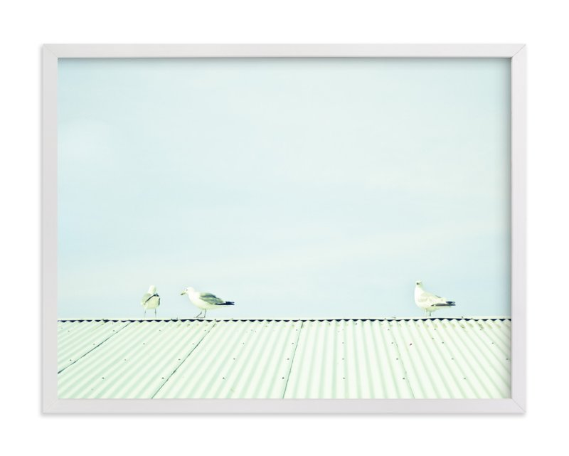 """Seagulls On The Roof"" - Art Print by Alexandra Feo in beautiful frame options and a variety of sizes."
