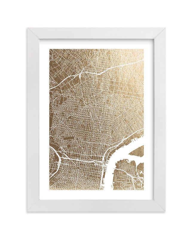"""""""Philadelphia Map"""" - Foil-pressed Art Print by Alex Elko Design in beautiful frame options and a variety of sizes."""