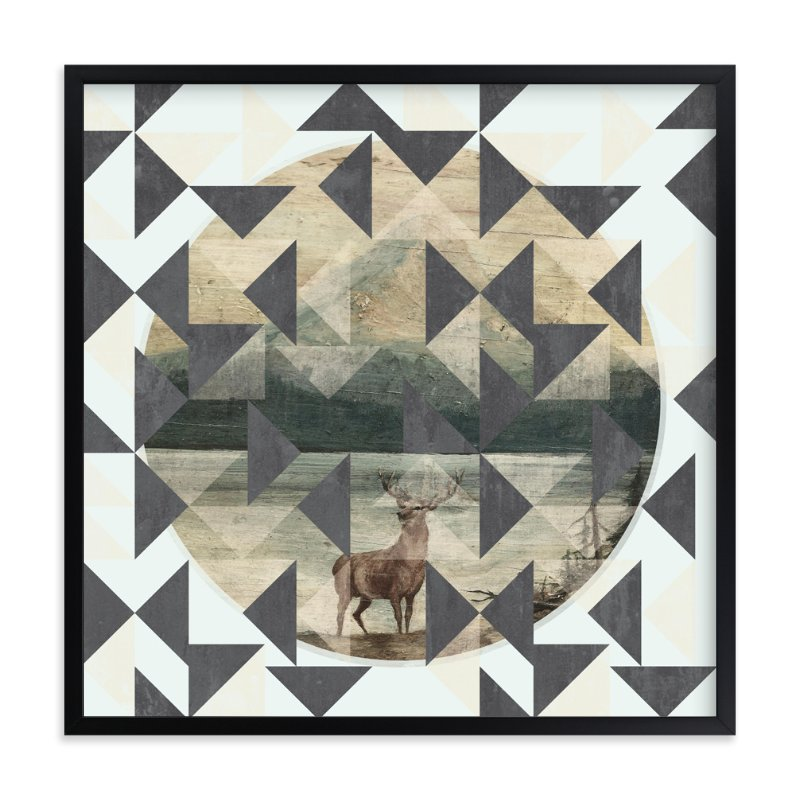 """Deer Flirtation"" - Art Print by SimpleTe Design in beautiful frame options and a variety of sizes."