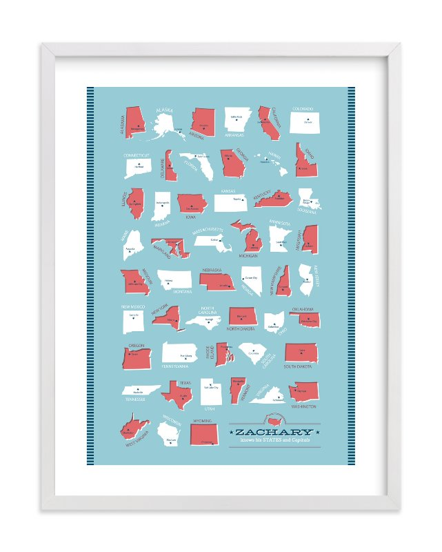 """States and Capitals"" - Children's Custom Art Print by Ann Gardner in beautiful frame options and a variety of sizes."