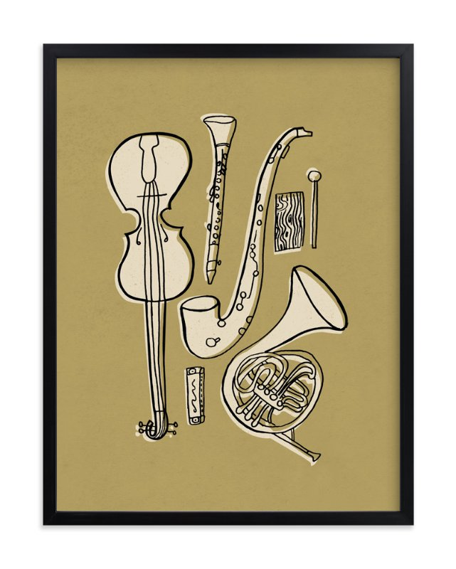 """Jazz Duet #1"" - Art Print by Moglea in beautiful frame options and a variety of sizes."