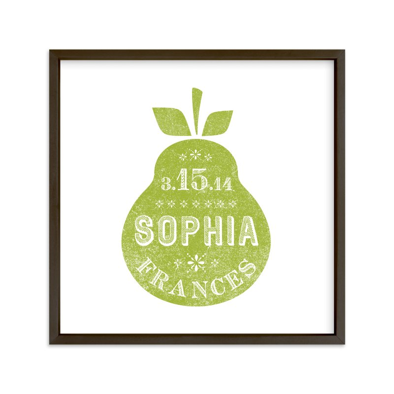 """Square Pear"" - Nursery Custom Art Print by Olivia Raufman in beautiful frame options and a variety of sizes."