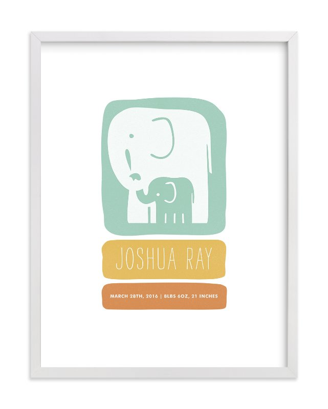 """""""Little Elephant"""" - Nursery Custom Art Print by Snow and Ivy in beautiful frame options and a variety of sizes."""