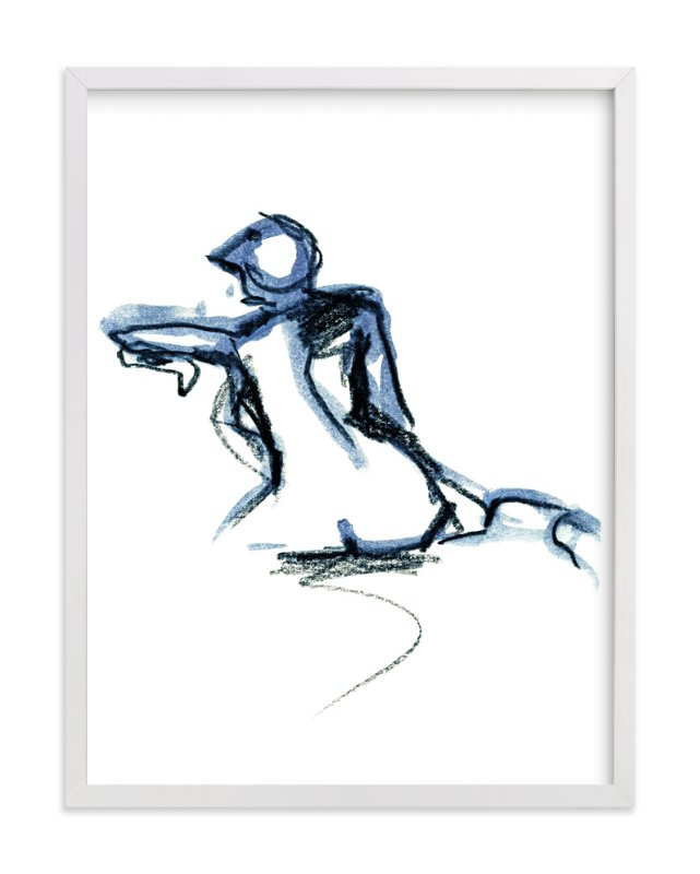"""Seated in Blue"" - Art Print by Eva Marion in beautiful frame options and a variety of sizes."