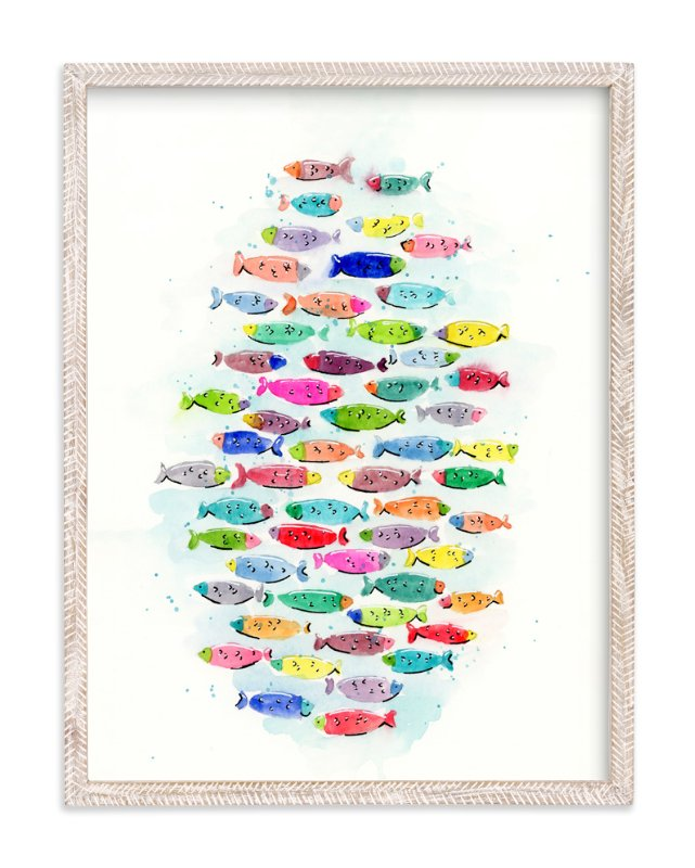 """Go Fish"" - Art Print by Lindsay Megahed in beautiful frame options and a variety of sizes."