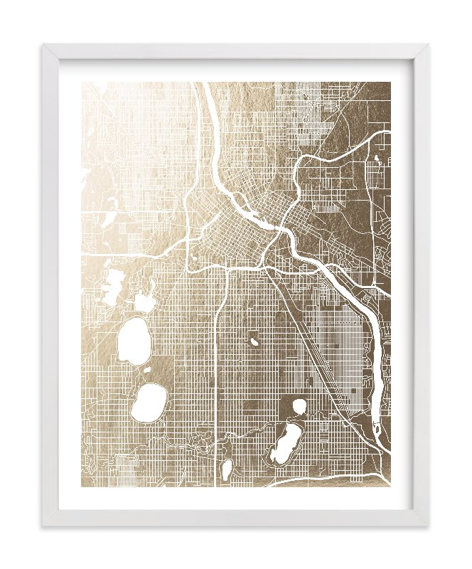 """Minneapolis Map"" - Foil-pressed Art Print by Yours Madly in beautiful frame options and a variety of sizes."