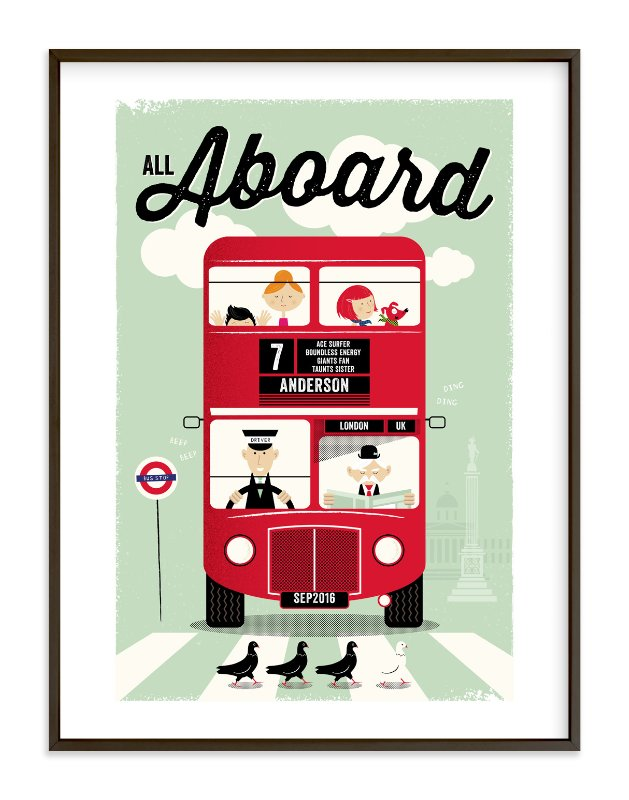 """All Aboard"" - Children's Custom Art Print by The Fine Letter Co. in beautiful frame options and a variety of sizes."