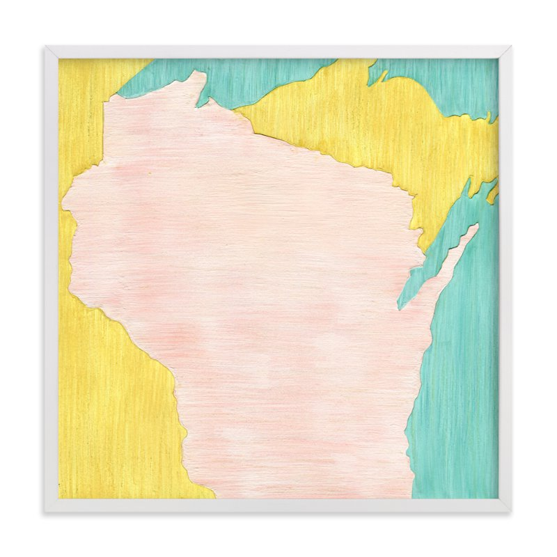 """Wisconsin in Paint"" - Art Print by Denise Wong in beautiful frame options and a variety of sizes."