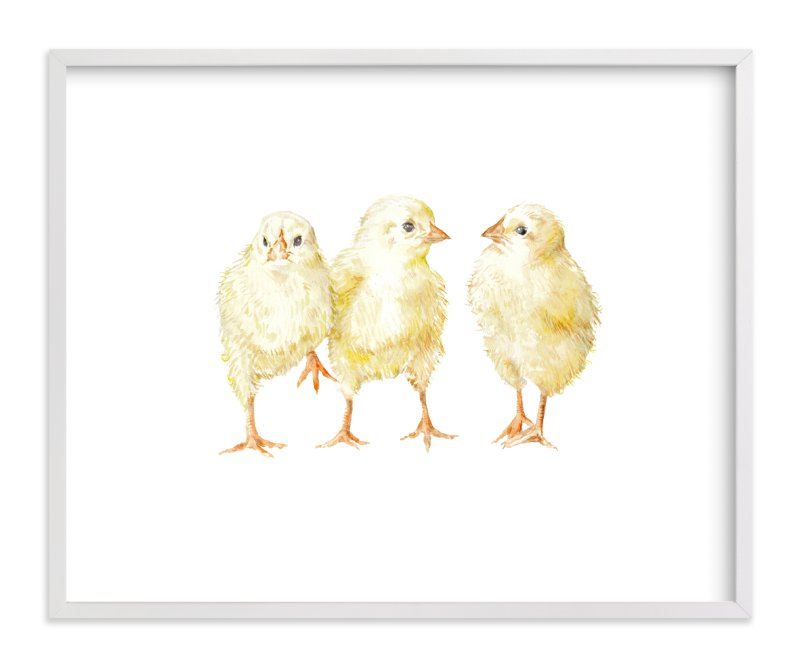 """""""Watercolor Baby Chicks"""" - Art Print by Lauren Rogoff in beautiful frame options and a variety of sizes."""