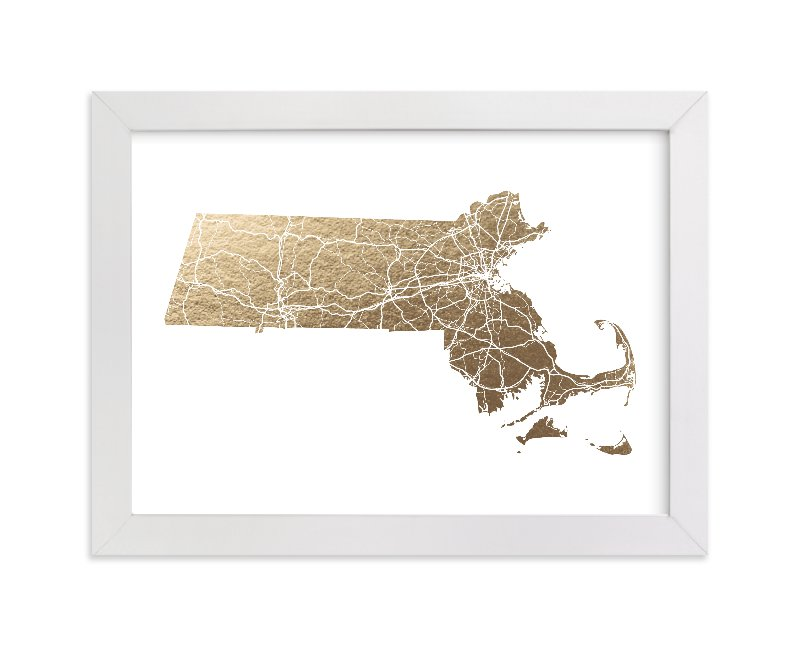 """Massachusetts Map Filled"" - Foil-pressed Art Print by GeekInk Design in beautiful frame options and a variety of sizes."