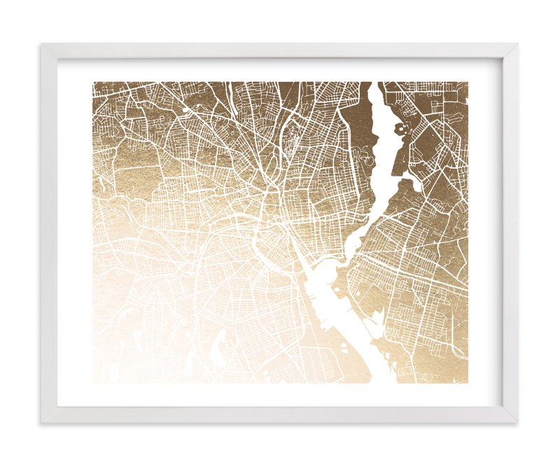 """""""Providence Map"""" - Foil-pressed Art Print by Melissa Kelman in beautiful frame options and a variety of sizes."""