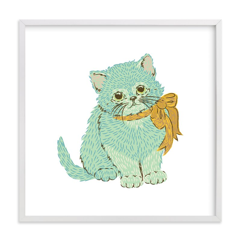 """""""Kitten & Bow"""" - Art Print by Snow and Ivy in beautiful frame options and a variety of sizes."""